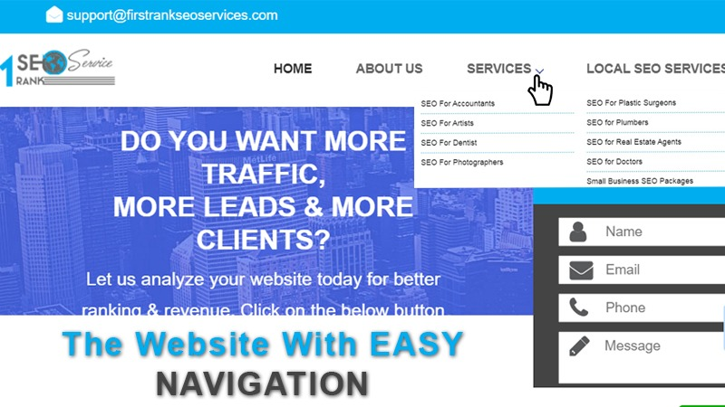 The website with EASY NAVIGATION