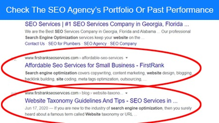 Check the SEO agency's portfolio or past performance