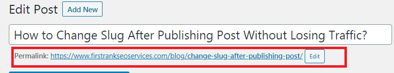 Change Slug After Publishing Post